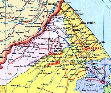 Лезгины  Место проживания Lezgin2_map